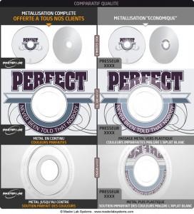 Comparatif qualité pressage CD : métallisation jusqu'au centre et aplat blanc préalable