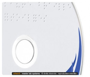 Zoom sur un pressage CD en Braille (recto)