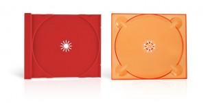 Exemple de plateaux disques CD DVD cristal couleur (rouge - orange)